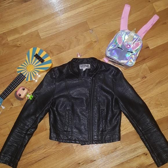977afb236 CoffeeShop Jackets & Coats | Kids Faux Leather Moto Jacket Girls ...